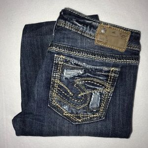 Silver Aiko Mid Bootcut Ripped Patched Jeans 27 30